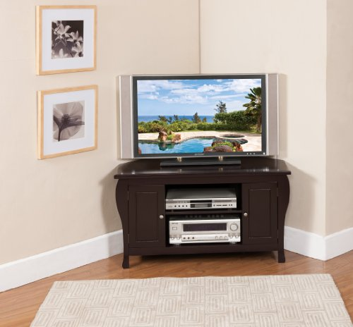 Espresso Corner Tv Stand - Kings Brand Espresso Finish Wood Corner TV Stand Entertainment Center