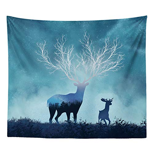 Simmia Home Photograph Background Cloth Ins Dormitory Big Tapestry Living Room Sofa Background Painting Bedside Tapestry Flannel Large Rag, Life Tree Reindeer Starry Sky (W150CmH130Cm)