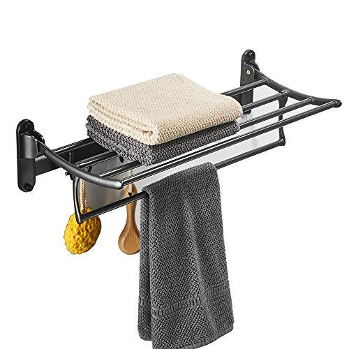 BESy Oil Rubbed Bronze Towel Racks, Bathroom Towel Shelf with Foldable Towel Bar Holder and Towel Hooks, Wall Mounted Multifunctional Double Towel Bars