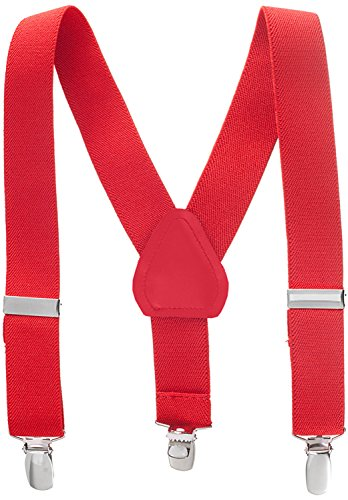 Suspenders for Kids - 1 Inch Suspender Perfect for Tuxedo - Red (30