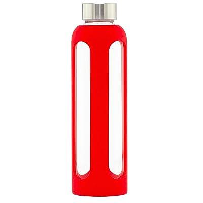 Bee Blissful Bouteille d'eau en verre avec une protection renforcée 100% sans BPA et recyclable 500ml Bleu, Verre, Red, 500 ml