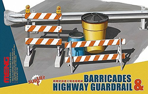 Highway Guard Rails - Meng 1:35 Scale Barricades and Highway Guardrail Model Set (Multi-Colour) by MENG