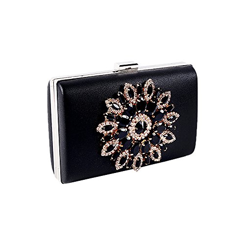 Purse Bag Clutch Hard Clutches Fashion Women Shell Glitter For Evening Black Flower qwvIUU