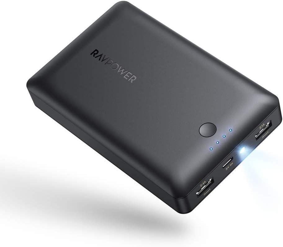 RAVPower 16750 mAh Cargador portátil Total 4.5 A Salida Power Bank Externo Power Pack 2-Port Cargador portátil con iSmart Carga y Tecnología de Linterna para iPhone XS MAX/XR/XS: Amazon.es: Electrónica