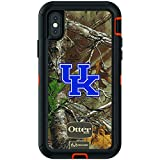 Fan Brander NCAA Black Phone case with Realtree Background, Compatible with Apple iPhone Xs Max and with OtterBox Defender Series (Kentucky Wildcats)