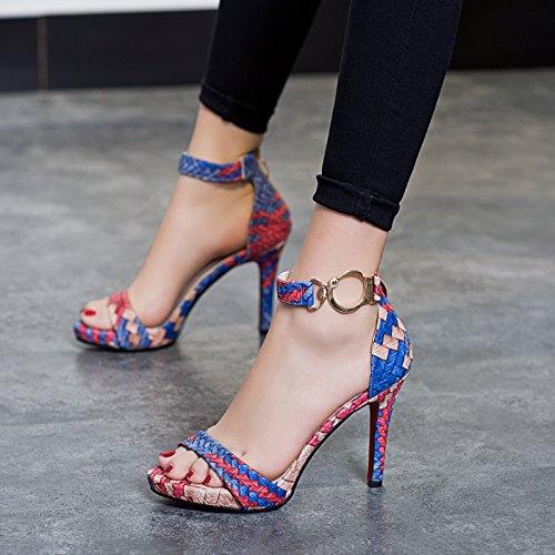 khskx-a mujeres hebilla sandalias all-match zapatos de tacón alto Roma zapatos impermeables sitio de rocío color azul