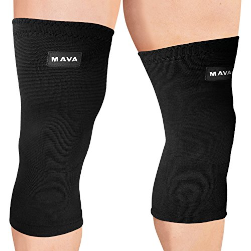 Mava Sports Knee Compression Sleeve Support - Effective Support for Running, Jogging,Workout, Training & Recovery (All Black, Medium)