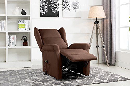 Power Recliner Chair, Lift Chairs, Linen Living Room Reclining Armchair (Dark Brown)