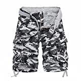 LOGEEYAR Men's Casual Solid Cotton Multi-Pocket Cargo Camouflage Shorts Outdoor Wear(956-White Grey,34)