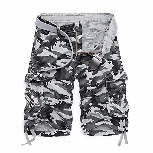 (LOGEEYAR Men's Casual Solid Cotton Multi-Pocket Cargo Camouflage Shorts Outdoor Wear(956-White Grey,32))