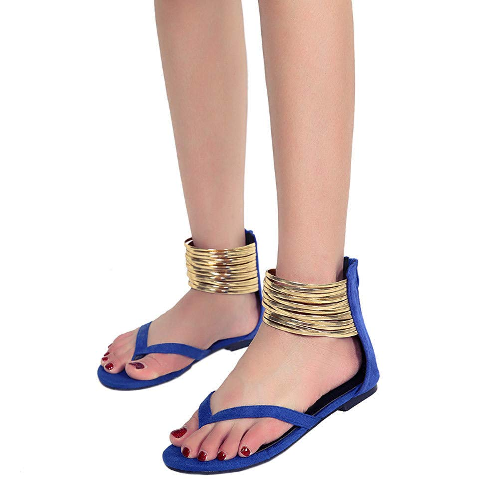 Thenxin Women Summer Round Toe Flat Sandals Breathable Beach Rome Casual Flat Clip Toe Shoes Party (Blue,8 US) by Thenxin (Image #3)