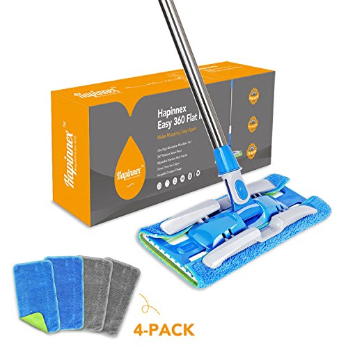 HAPINNEX Microfiber Dust Floor Mop – 4 Washable & Reusable Flat Mop Cloths/Pads – For Home Kitchen Bathroom Cleaning – Wet or Dry Usage on Hardwood, Laminate & Tile