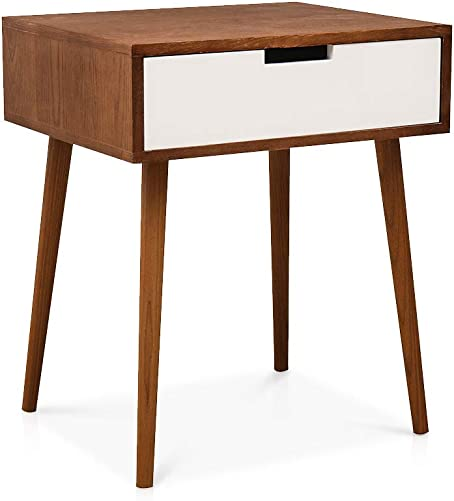 DKLGG Bedside Table, Modern Wood Legs with Storage Drawers Night Table, for Living Room Bedroom Light Walnut