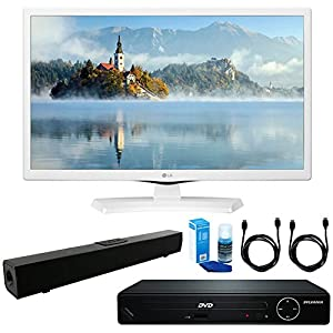 LG 24LJ4540-WU 24-Inch HD LED TV - White (2017 Model) + HDMI 1080p High Definition DVD Player + Solo X3 Bluetooth Home Theater Sound Bar + 2x HDMI Cable + LED TV Screen Cleaner