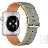 J Replacement Woven Nylon Watch Strap For Apple Watch iWatch Series 1, Series 2 , Series 3 42MM Golden Royal Blue Plus Screen Guard (Watch Not Included)