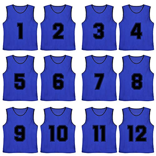 TOPTIE Numbered/Blank Scrimmage Team Practice Mesh Jerseys Vests Pinnies (12-Pack)-NavyBlue (#1 to 12)-Adult