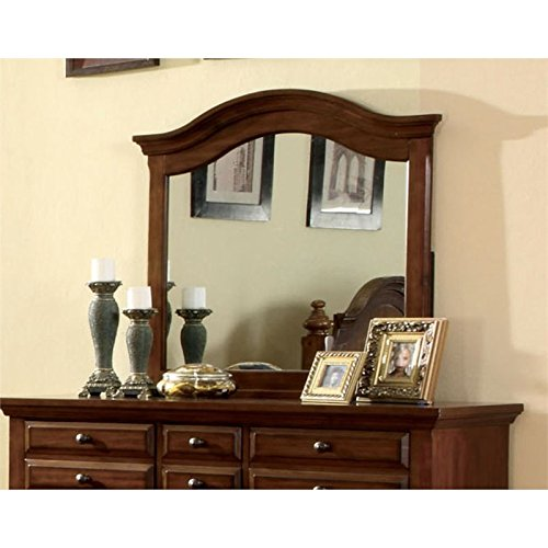 Furniture of America Fletcher Distressed Arched Mirror in Light Walnut