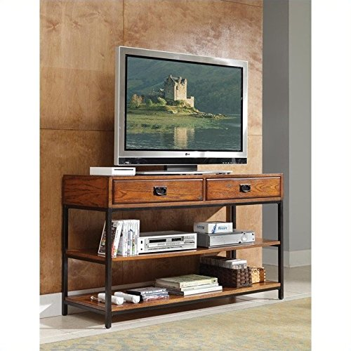 Home Style 5050-06 Modern Craftsman Media Console, Distressed Oak Finish (Craftsman Style Furniture)