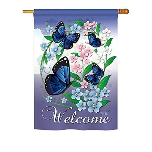 Breeze Decor BG-H-104069-IP Blue Butterflies Vertical House Flag, 28