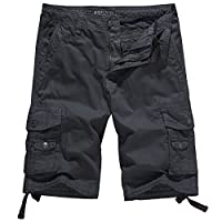 WenVen Men's Cotton Twill Cargo Shorts Outdoor Wear Lightweight