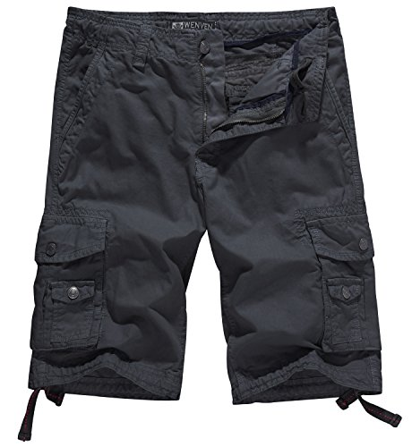 Knee Short (WenVen Men's Cotton Twill Cargo Shorts Outdoor Wear Lightweight (No.4 Charcoal, 38))