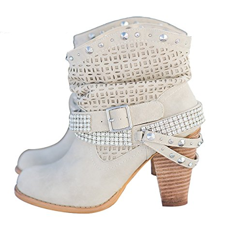 Mid Slouch Ankle Heels for Leather Studded Booties Beige Buckle Womens High Boots Winter Straps SNIDEL Ankle tXPxw