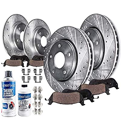 Detroit Axle - All (4) Front and Rear Drilled and Slotted Disc Brake Kit Rotors w/Ceramic Pad Kit for 2006 2007 2008 2009 2010 2011 2012 Toyota RAV4: Automotive