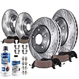 Detroit Axle - Front and Rear Drilled and Slotted Disc Brake Kit Rotors w Ceramic Pads w Hardware & Brake Kit Cleaner & Fluid for 2007 2008 2009 2010 2011 2012 2013 2014 2015 2016 2017 Jeep Wrangler