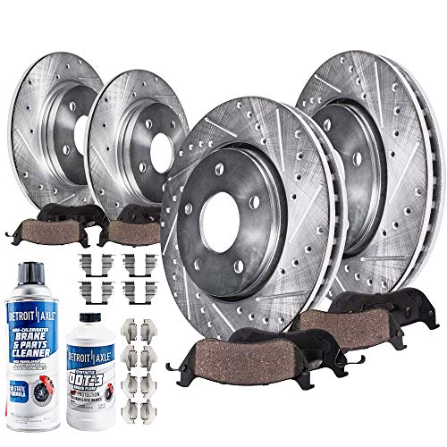 Detroit Axle - All (4) Front and Rear Drilled and Slotted Disc Brake Rotors w/Ceramic Pads w/Hardware & Brake Cleaner Fluid for 2004-2007 Mitsubishi Galant V6 - [2006-2012 Eclipse 4Cyl.]