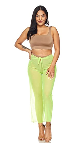 77177110bb957 Amazon.com: SOHO GLAM Neon Green Front Tie Mesh Cover Up Pants ...