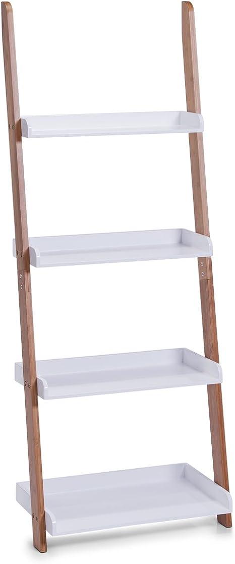 Zeller 18632 - Estantería Tipo Escalera con 4 repisas (55 x 30 x 145 cm, Madera de bambú y Tablero DM), Color Blanco: Amazon.es: Bricolaje y herramientas
