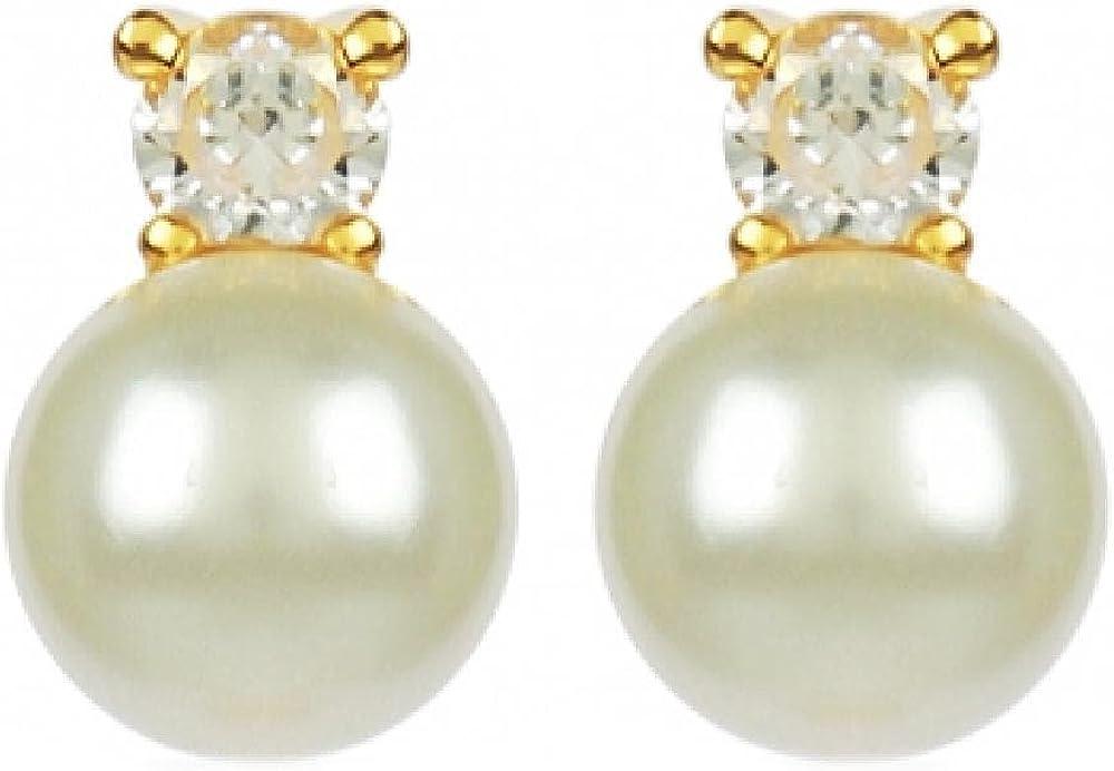 So Chic Joyas© pendientes perla & piedra redonda óxido de circonio blanco chapado en oro 750