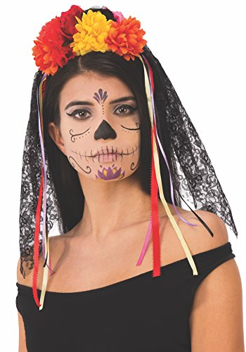 Rubie's Unisex-Adults Day Of The Dead Flower Head Piece With Veil, As Shown, One Size -