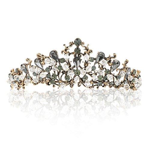 Unicra Baroque Black Crown Wedding Crystal Tiaras and Crowns for Women Decorative Bridal Headbands for Brides (Color 7)