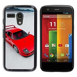 LECELL--Funda protectora / Cubierta / Piel For Motorola Moto G 1 1ST Gen -- Red Sports Car --