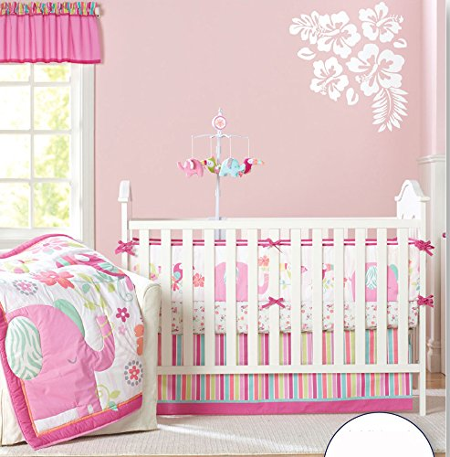 Baby Girl's Pink Elephant Crib Bedding 9pcs set Baby Bedding Set With Diaper bag … by Sahaler