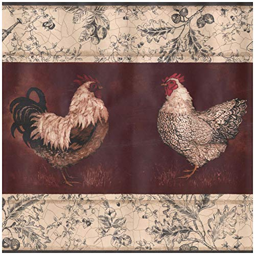 Red Rooster Border (Prepasted Wallpaper Border - Beige Black White Rooster Hen Wine Red Wall Border Retro Design, Roll 15 ft. x 10.25 in.)