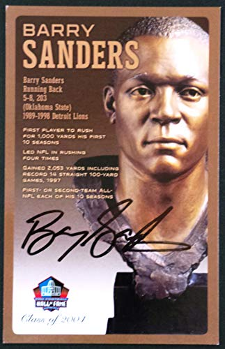 (PRO FOOTBALL HALL OF FAME Barry Sanders NFL Signed Bronze Bust Set Autographed Card with COA (Limited Edition #93 of 150))