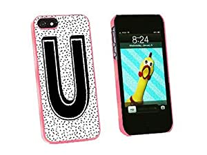 phone covers Graphics and More Letter U Initial Sprinkles Black White Snap-On Hard Protective Case for iPhone 5c - Non-Retail Packaging - Pink
