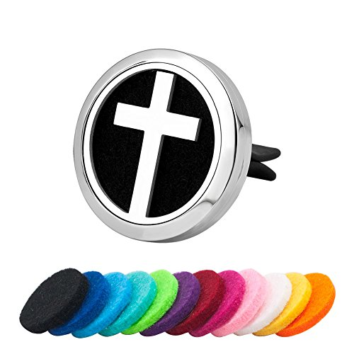 Third Time Charm Cross Aromatherapy Essential Oil Diffuser For Car Vent Clip Air Freshener Cross Stainless Steel Locket, 12 Refill Pads