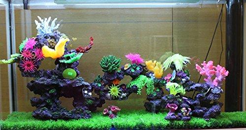 Y.Dick Pecera Acuario Marino ajardinadas decoradas Chen pared resina Coral gran pecera, Paquete completo con las cañas , el castillo de conjunto de 6 piezas ...