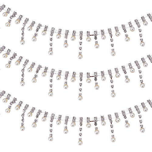 """BENECREAT 2 Yards 1/2"""" Wide Pearl Rhinestone Chain Trim for Wedding Party Decoration, Bridal Dresses and Other DIY Sewing Project"""