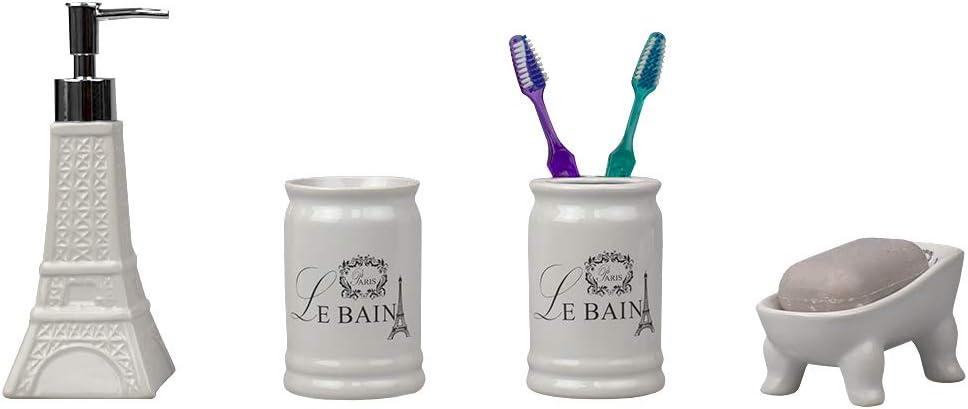 Home Basics, White Le Bain Paris Eiffel Tower 4 Piece Designer Ceramic Bath Accessory Set | Toothbrush Holder, Dispenser, Soap Dish, 1 Tumbler