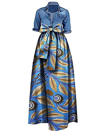 Huiyuzhi Womens African Print Dashiki Dress Long Maxi A Line Skirt Ball Gown (XXL, Light Blue)