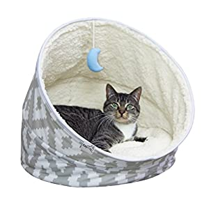 Kitty City Premium Fleece Comfy Moon Bed- Multifunction, Collapsible Spiral Cat Tunnel Bed, Large Size Cat 100