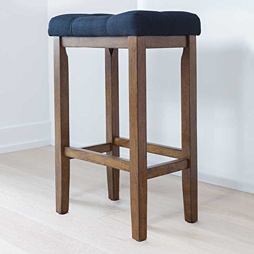 Wood Kitchen Pub-Height Bar Stool - Backless Upholstered Saddle Seat, 29 Inch - Black Cushion and Walnut Finish - For Bar or - Wooden Frame Circular
