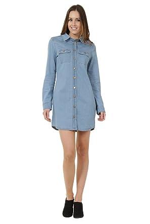 Denim Club Jeanskleid Mit Knöpfe Vorn Frauen Sommerkleid Jeanskleid