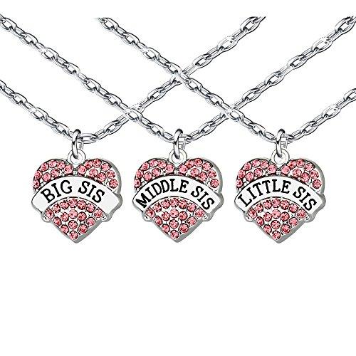 3pcs Big Sis Middle Sis Little Sis Heart Shape Key Chain Ring Necklace Bracelet for Sister Best Friend (3)