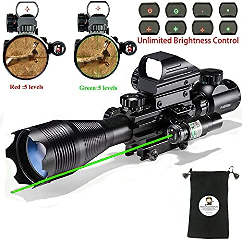 Hunting AR15 Tactical Combo Rifle Scope C4-16x50EG with Green Laser and 4 Holographic Red&Green Dot Sight (12 Month Warranty) for 22&11mm Weaver/Picatinny Rail (Green Dot Laser For Gun)