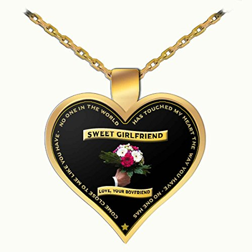 Sterling Gold Iced Beverage (GIFT FOR GIRLFRIEND ON VALENTINE'S DAY - NO ONE IN THE WORLD HAS TOUCHED MY HEART THE WAY YOU DO, Novelty Ceramic Cup and Gift (Gold Necklace 1 inch))